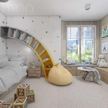 TĘCZOWY POKÓJ DZIECKA: styl , w kategorii Pokój dziecięcy zaprojektowany przez UTOO-Pracownia Architektury Wnętrz i Krajobrazu
