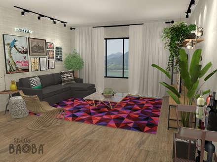 Apartment in Rotterdam: eclectische Woonkamer door Studio Baoba