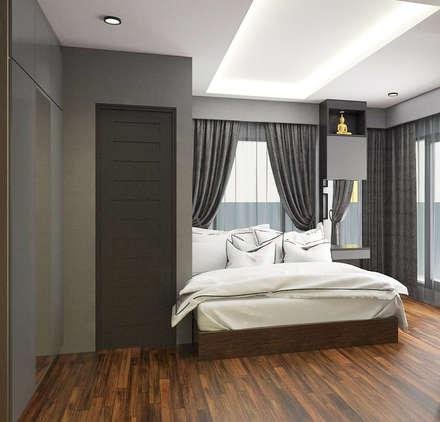 ตกแต่งภายในคอนโด Himma Chiangmai:  ห้องนอน by เหนือ ดีไซน์ สตูดิโอ (North Design Studio)
