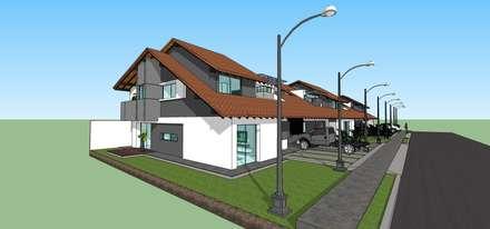 Perspectiva de conjunto: Casas de estilo moderno por MARATEA Estudio