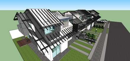 Detalle de estructura de techos: Casas de estilo moderno por MARATEA Estudio