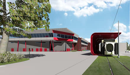 Depot tram LRT: Garage/Rimessa in stile in stile Industriale di Studio Associato di architettura MBiM