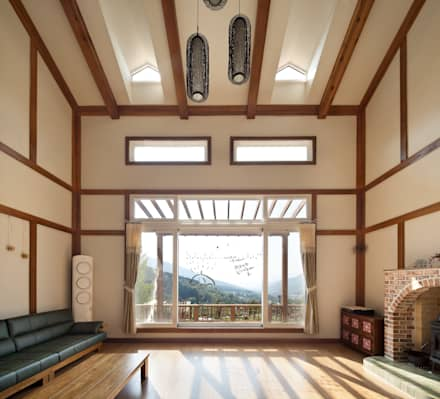 asian Living room by (주)에이도스건축사사무소