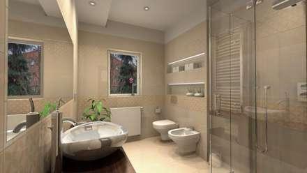 Elegancja łazienka w szarości lub beżach: styl , w kategorii Łazienka zaprojektowany przez Icw Studio
