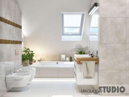 łazienka na piętrze: styl , w kategorii Łazienka zaprojektowany przez MIKOŁAJSKAstudio