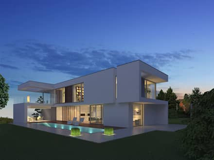 Gartenansicht abends: moderne Häuser von Fichtner Gruber Architekten