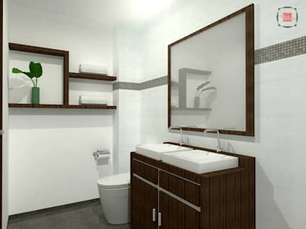 baño principal: Baños de estilo moderno por JELKH Design Architects s.a.s