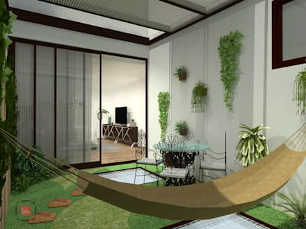 proyecto country sur: Jardines de estilo moderno por JELKH Design Architects s.a.s