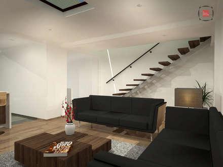 sala: Salas de estilo moderno por JELKH Design Architects s.a.s