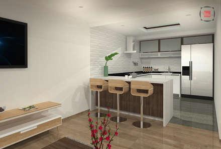 comedor cocina : Comedores de estilo moderno por JELKH Design Architects s.a.s