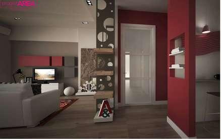 Pasillos y hall de entrada de estilo  por progettAREA interni & design