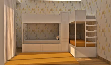 Projeto 3D - Apartamento Colinas do Cruzeiro: Quartos de criança modernos por Ana Andrade - Design de Interiores