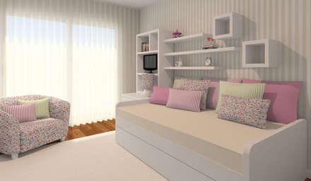 Projeto 3D - Apartamento Montijo: Quartos de criança modernos por Veludo Vermelho Design de Interiores