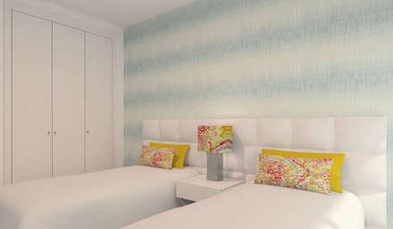Projeto 3D - Apartamento Montijo: Quartos modernos por Veludo Vermelho Design de Interiores
