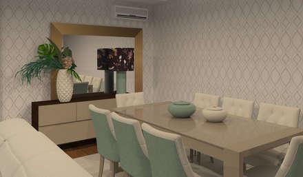 Projeto 3D - Apartamento Montijo: Salas de jantar modernas por Veludo Vermelho Design de Interiores
