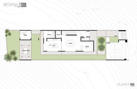 Planta Baja: Pasillo, hall y escaleras de estilo  por Besana Studio