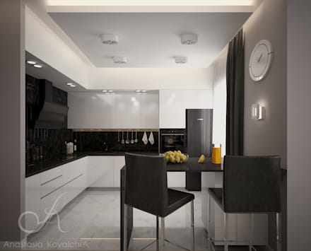Apartment in a modern style in Moscow: modern Kitchen by Design studio by Anastasia Kovalchuk
