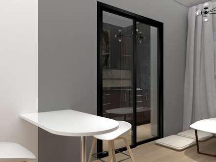 ตกแต่งห้องคอนโด:  ห้องนั่งเล่น by No.13 Design