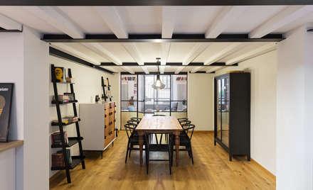 LOFT N: Sala da pranzo in stile in stile Industriale di NOMADE ARCHITETTURA E INTERIOR DESIGN