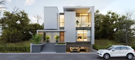 Fachada Casa 02: Casas modernas por Flávia Kloss Arquitetura de Interiores
