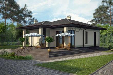 Дом с баней в современном стиле (МО): Дома в . Автор – Архитектурное бюро Art&Brick