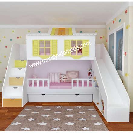 MOBİLYADA MODA  – Özel Tasarım Kaydıraklı Ev Ranza, Pelin'in Ranzası : modern tarz Çocuk Odası