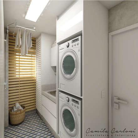 Reforma residencial - Apartamento duplex 200m² em São Bernardo do Campo: Paredes  por Camila Carloni - Arquitetura e Interiores