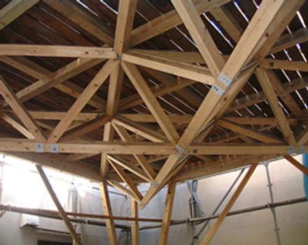 屋根付きハイデッキ: 木造トラス研究所・株式会社 合掌が手掛けた庭です。