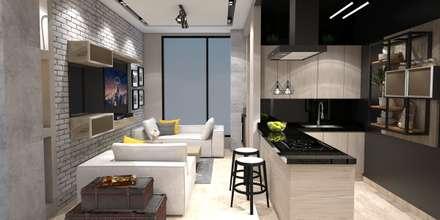 Diseño y remodelacion Apto Estilo industrial - B/quilla: Salas de estilo industrial por ecoexteriores