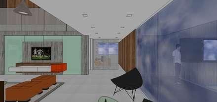 Vestibulo de acceso con estudio al fondo: Salas / recibidores de estilo minimalista por MARATEA Estudio