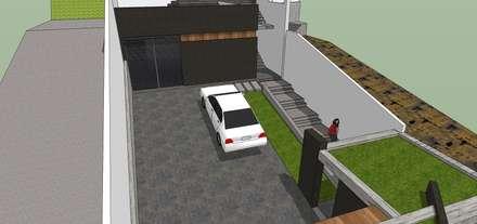 Vista interna del estacionamiento: Garajes y galpones de estilo minimalista por MARATEA Estudio