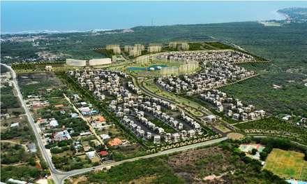 Diseño arquitectonico / urbano paisajista - Novaterra Ocean City / Grama construcciones: Casas de estilo mediterráneo por ecoexteriores