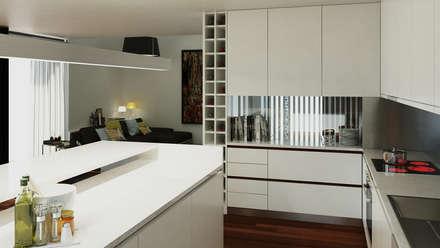 Moradia unifamliar - Tipologia T3: Cozinhas modernas por EsboçoSigma, Lda