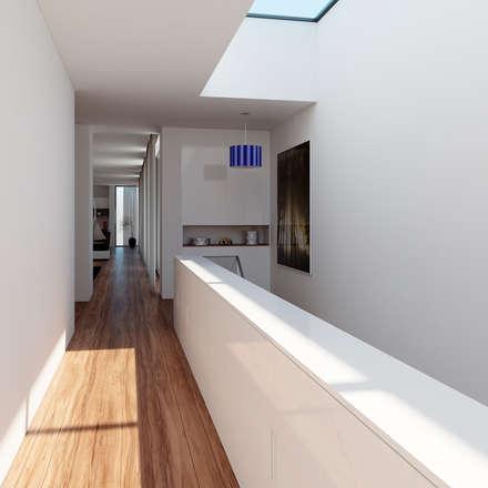 Moradia unifamiliar - Tipologia T4: Corredores, halls e escadas minimalistas por EsboçoSigma, Lda