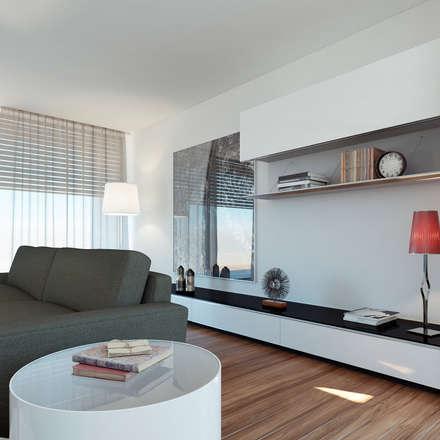 Moradia unifamiliar - Tipologia T4: Salas de estar minimalistas por EsboçoSigma, Lda