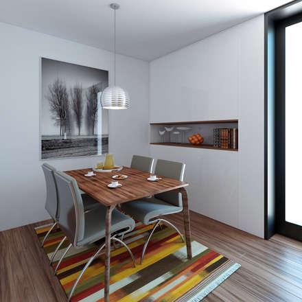 Moradia unifamiliar - Tipologia T4: Salas de jantar minimalistas por EsboçoSigma, Lda