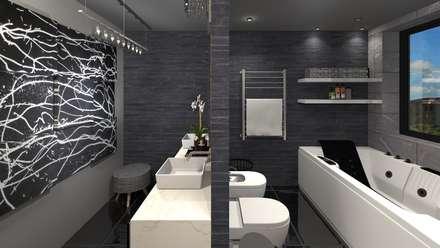 Diseño de vivienda unifamiliar en barrio cerrado Los Cardales: Baños de estilo moderno por Diseño de Locales