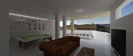 Casa Pearson: Salas multimedia de estilo mediterráneo de PL Architecture