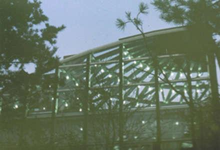 鉄と木のシェルの屋根: 木造トラス研究所・株式会社 合掌が手掛けた家です。