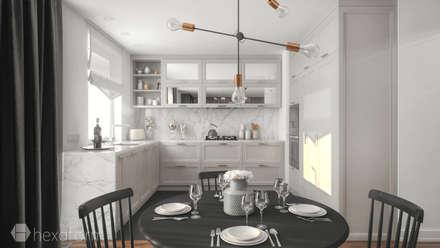 Projekt mieszkania 60 m2.: styl , w kategorii Kuchnia zaprojektowany przez hexaform