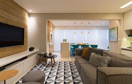 Sala Integrada com Varanda Goumert: Salas de estar modernas por Danyela Corrêa Arquitetura