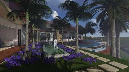 Fuente y jardin: Jardines de estilo rústico por Leo Velandia Arquitectos