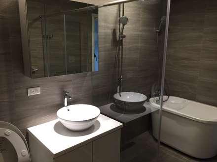 黑色與鐵件的混合搭配 溫馨愜意宅:  浴室 by 捷士空間設計