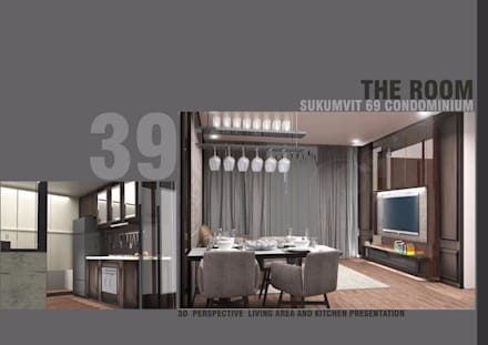 THE ROOM SUKHUMVIT 69 (STYLE LUXURY):  ห้องนั่งเล่น by Future Interior Design Co.,Ltd.