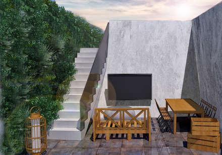 Vista Final do Pátio Exterior: Terraços  por MB Arquitetos