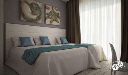 Ambienti Interni: Camera da letto in stile in stile Mediterraneo di Rimini Render
