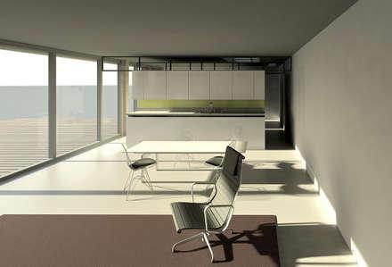 Woon- Eetkamer Tuinhuis: moderne Eetkamer door Hugo Caron Architecten bna