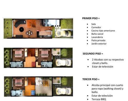 PLANTAS : Habitaciones de estilo moderno por DG ARQUITECTURA COLOMBIA