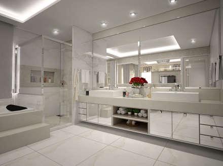 Banheiro do casal: Banheiros modernos por Vinicius Miguel Arquitetura