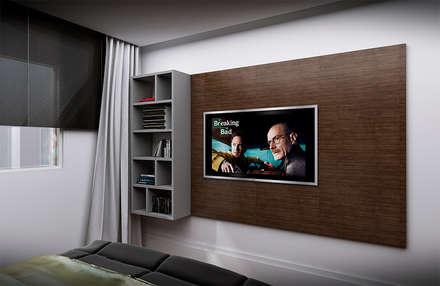 painel para televisão : Quartos  por NSFAZ ARQUITETURA E CONSTRUÇÃO
